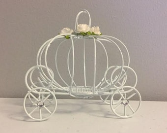 Decorated Cinderella pumpkin carriage, Princess carriage, wedding favor box, pumpkin wedding decorations, candle holder, or baby shower box