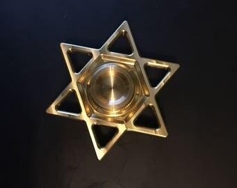 Star of David Fidget Toy Finger Spinner in Brass, Stainless, or Titanium