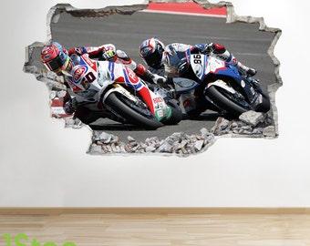 Motorbike Wall Sticker 3d Look - Boys Kids Bedroom Extreme Sport Wall Decal Z142