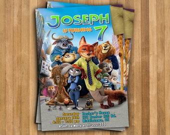 Personalize Zootopia Invitation, Zootropolis Police Invite, Zootopia Birthday Part, Digital file