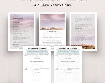 Meditation Kit / Guided Meditation, Meditation Diary, Meditation Journal, Yoga, Journal Template, Meditation Guide, Bullet Journal Sheet