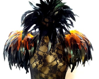 Feather epaulettes. Large black and amber gold feather shoulder pads and feather neck corset set. Perfect for Burning Man. 'Burnished Amber'