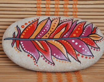Painted Stone - Red and Orange Feather, hand painted rock, feather painted on sea pebble, meditation stone, unique gift, rock art home decor