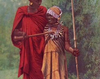 Kikuyu Couple - vintage colored photograph from the 1920's