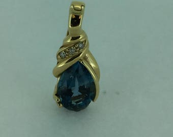 14kt Yellow Gold Lady's Diamond and Blue Topaz Pendant/Enhancer
