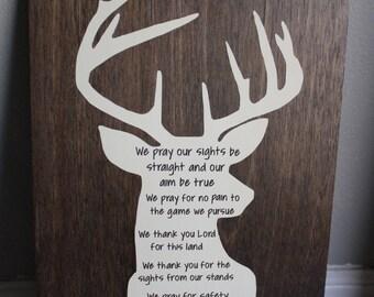 Hunter's Prayer sign // hunting cabin decor // man cave sign