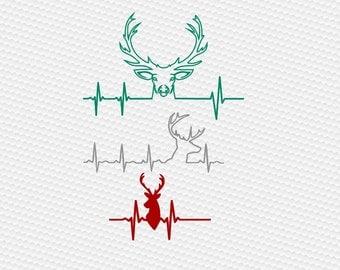 Deer svg, Hunting svg, Heartbeat deer svg, Heartbeat Buck svg, Deer Head svg, Deer Ekg svg, Cricut, Cameo, Clipart, Svg, DXF, Png, Pdf, Eps