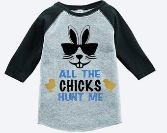 Kids easter bunny shirt - toddler easter shirt - boys easter shirt - boys bunny shirt - chicks hunt me - kids easter baseball shirt - raglan