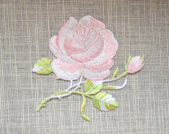 Light Pink flower patch ,flower embroidered Iron-on patch ,embroidered patch