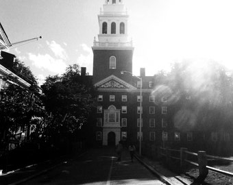Harvard University Lowell House Bell Tower; Black and White; Boston, MA; library; study; office; living room