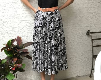 Black & White Cotton Printed Maxi Skirt / S / M