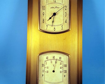 Vintage Seth Thomas Wall Clock & Thermometer