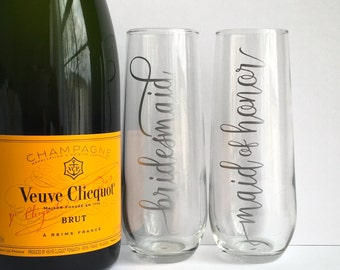 Wedding Champagne Glasses - Personalized Bridesmaid Maid of Honor Bride Bridal Party Flutes - Silver Champagne Flutes