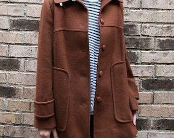 Amazing Vintage Pendleton Chocolate Wool Coat With Funnel Neck & Really Beautiful Detailing- Minimalist- Sz S