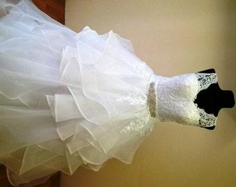 Lace, organza ruffles luxury ball gown wedding dress