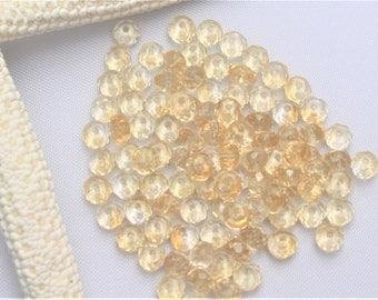 Natural Citrine Beads, Faceted Rondelle, 6mm x 4mm. Quantities vary.