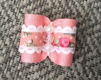 Dusky pink dog bow