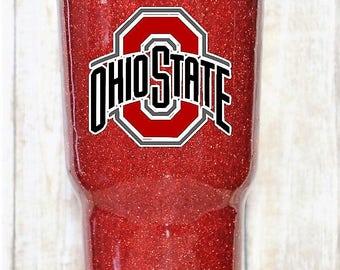 Ohio State Buckeyes Glitter Dipped Yeti Tumbler, Ohio State Yeti, Ohio State RTIC, Ohio State Glitter Tumbler Buckeyes yeti 20 30 40 oz
