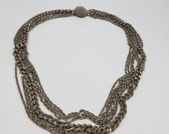 Classic Silver Tone Multi-Chain Necklace