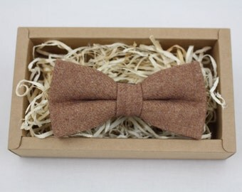 Men's Caramel Brown Wool Bow Tie