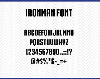 Ironman Font (SVG, EPS, PNG, dfx) Cut Files for use with Silhouette, Cricut, & other Cutting Machines
