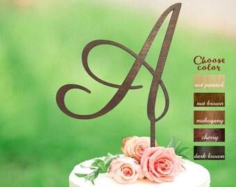 Letter A cake topper, Wood initial cake topper, Cake Topper Initials, Cake Topper Wood Monogram, wedding cake topper single letter, CT#057