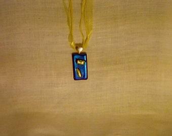 Blazing blue dichroic glass pendant