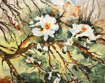 Cherry Blossoms on Main (Original Watercolor Painting)
