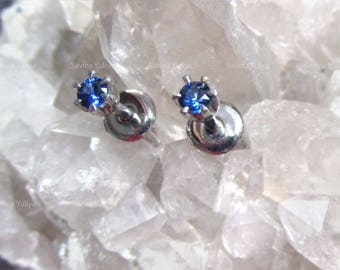 Silver Stud Natural Blue Saphire Earrings, Fine Jewelry