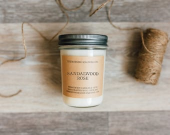 Sandalwood Rose / Hand-poured, Premium Soy Candle