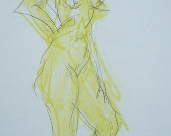 Original nude drawing of pastel and pencil on white paper, nude body drawing