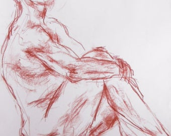 Original nude drawing in sanguine, naked man in the Studio, nude on white paper A2, slightly sexy pose