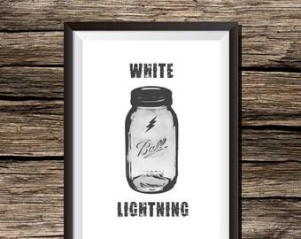 Moonshine Bootleg White Lightning Mason Jar Whiskey 8x10 Wall Art Print Home Decor Instant Digital Download Printable