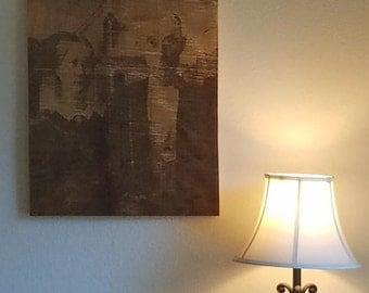 American Gothic Laser Engraved on a Canvas of Rough Cut Maple