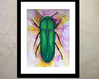 Little Green Beetle Illustration Print