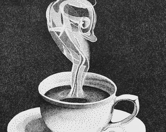 Steaming Cup of Coffee - Stippled Drawing - Print of Original