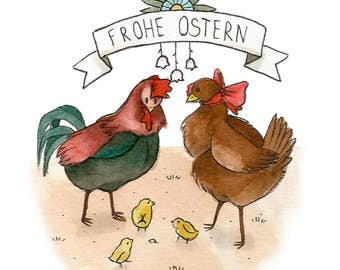 """Easter greeting card """"Chicken family"""""""