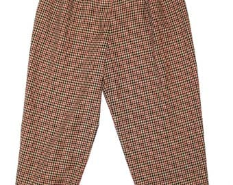 Vintage Women's Clothing • Wool Checked Trousers • High Waisted • 1980's Pleated Pants