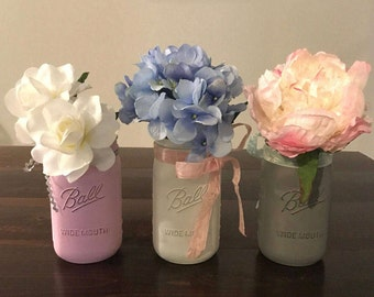 Shabby Chic Mason Jar set