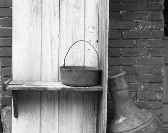 """Black and white photograph, fine art photography, vase, old, vintage, rustic, wall art, home decor, wall decor print """"Leaning Vase"""""""