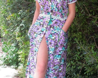 vintage floral maxi cotton dress with pockets/ buttoned maxi dress/ floral dress/ green and purple/hand sewed dress/ rustic floral dress