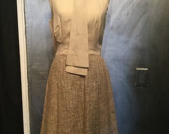 1970s tweed silk dress/tweed dress/jacket/dress jacket set/s-m