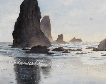 Watercolor, Landscape, Seascape, Beach, Cannon Beach, Oregon Coast, Northwest, The Needles, Haystack Rock, Impressionist Art