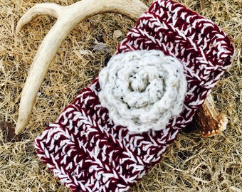 Burgandy & white crochet head band ear warmer ear muff