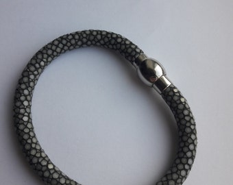 Grey Stingray Bracelet, Genuine leather, magnetic closure