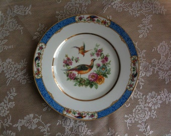 Beautiful, old gathering dish with pheasant and flowers of Bavaria Schumann