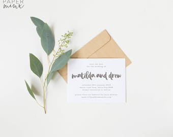 Save the Date | Printed Save the Date | Calligraphy | Grey | Neutral | Stone | Wedding | Invitation | Modern | Save the Dates | Matilda