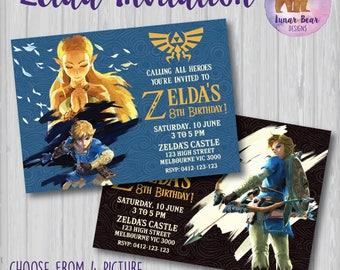 Zelda Invitation, Zelda Birthday Party, Zelda Breath of the Wind Invitation, Legend of Zelda Invite, Zelda Link Invitation, Video Game Party