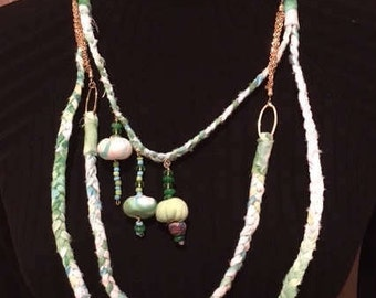 Green and white ,fabric necklace, textile necklace, Ethnic Jewelry,handmade beads