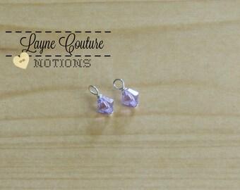 2 Light Purple Swarovski Crystal Charms / February Birthstone / Wire Wrapped Swarovski Crystals / Swarovski Dangle / Swarovski Supplies